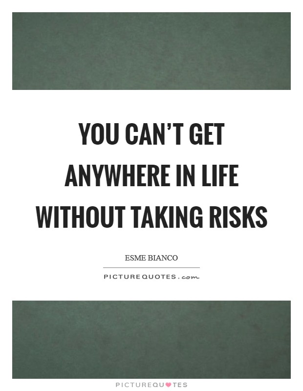 You can't get anywhere in life without taking risks Picture Quote #1