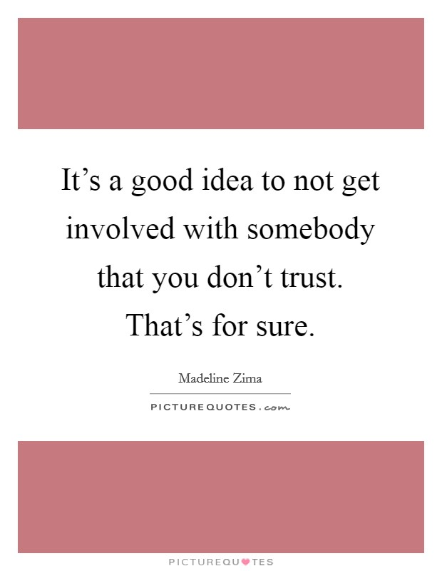 It's a good idea to not get involved with somebody that you don't trust. That's for sure Picture Quote #1