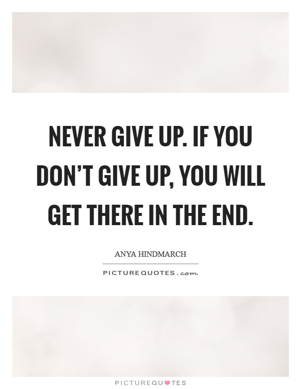 Never give up. If you don't give up, you will get there in the end Picture Quote #1