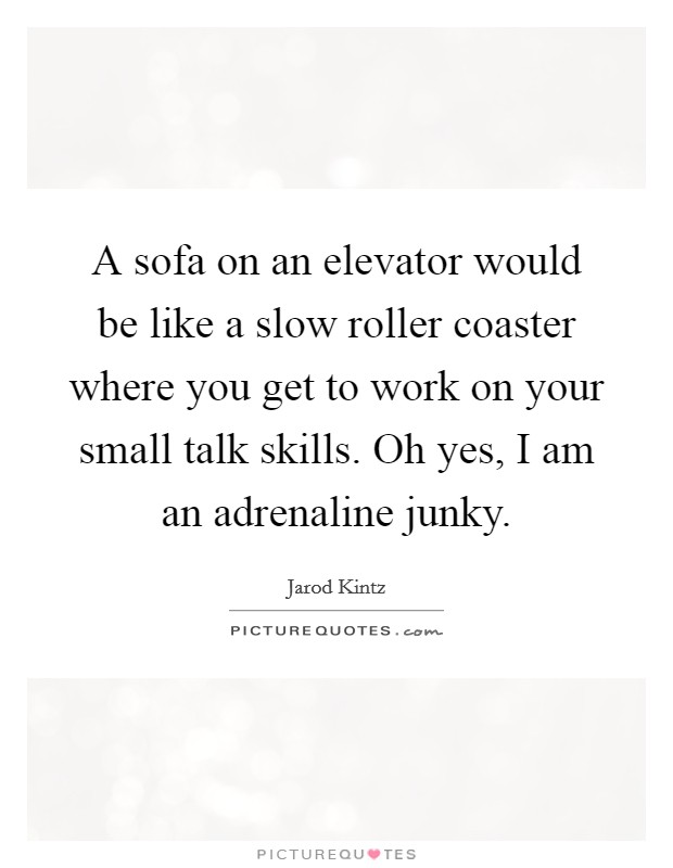 A sofa on an elevator would be like a slow roller coaster where you get to work on your small talk skills. Oh yes, I am an adrenaline junky Picture Quote #1