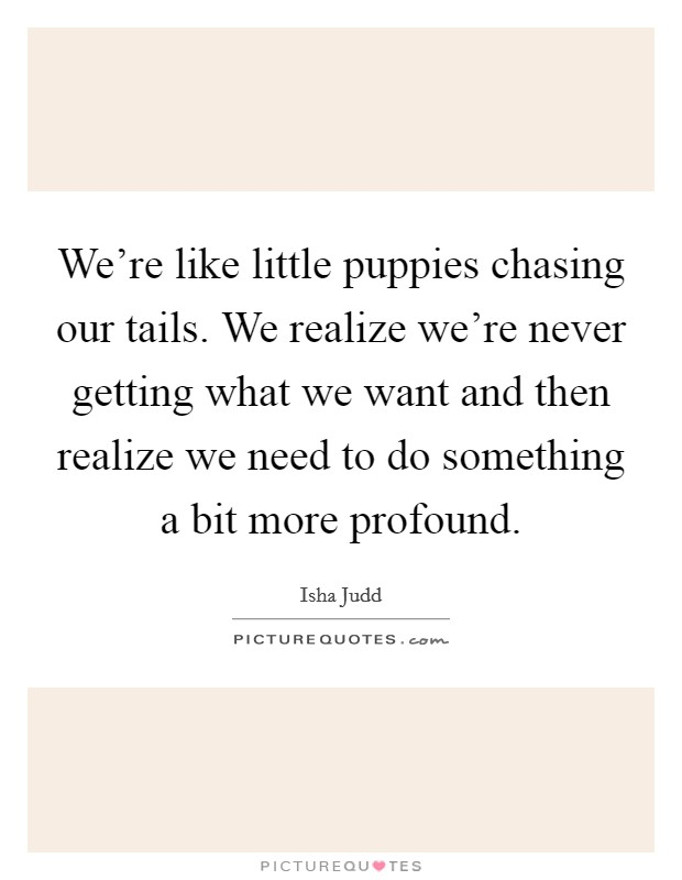 We're like little puppies chasing our tails. We realize we're never getting what we want and then realize we need to do something a bit more profound. Picture Quote #1