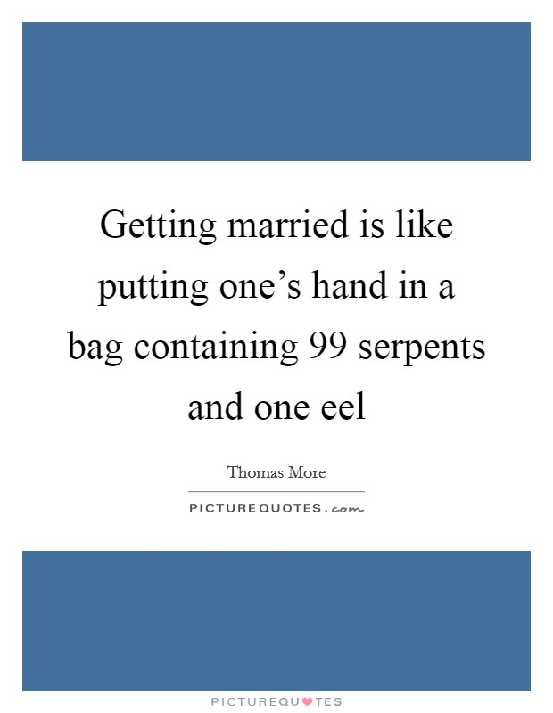 Getting married is like putting one's hand in a bag containing 99 serpents and one eel Picture Quote #1