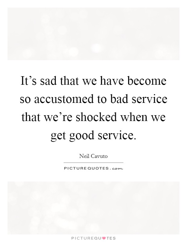 It's sad that we have become so accustomed to bad service that we're shocked when we get good service Picture Quote #1