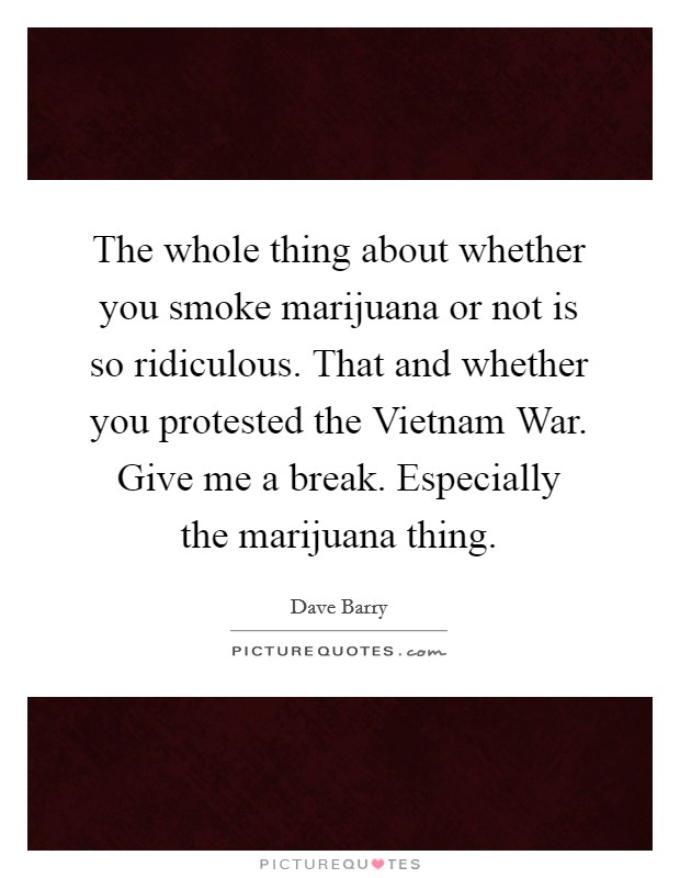 The whole thing about whether you smoke marijuana or not is so ridiculous. That and whether you protested the Vietnam War. Give me a break. Especially the marijuana thing Picture Quote #1