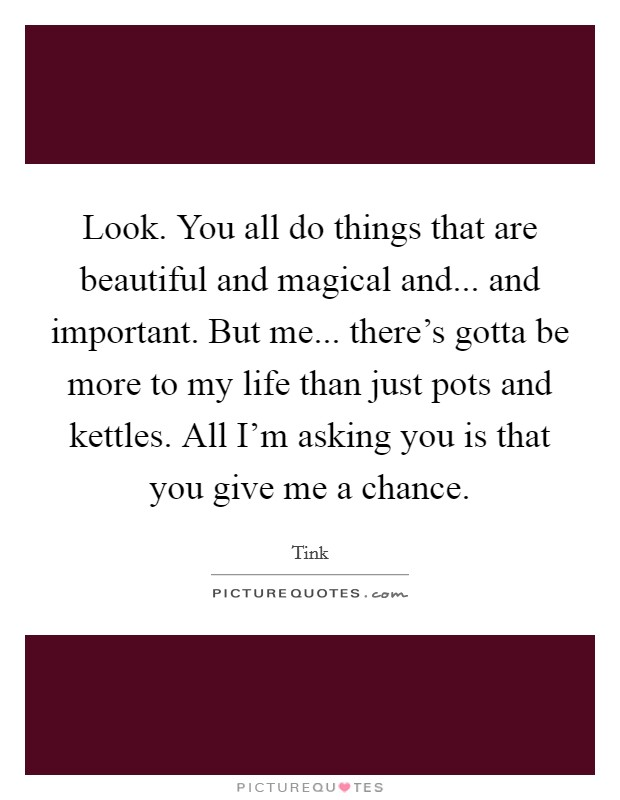Look. You all do things that are beautiful and magical and... and important. But me... there's gotta be more to my life than just pots and kettles. All I'm asking you is that you give me a chance Picture Quote #1