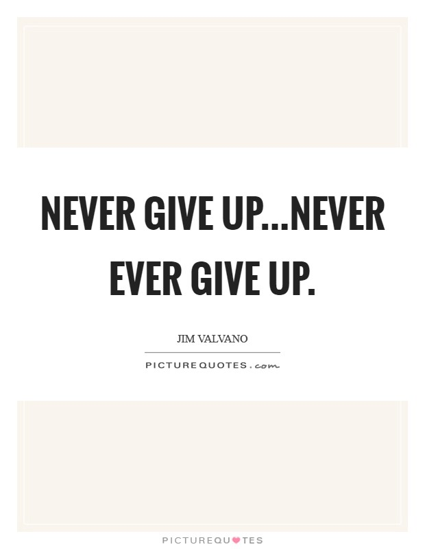 Never give up...never ever give up. Picture Quote #1