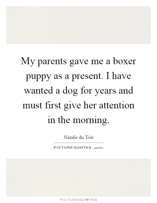 My parents gave me a boxer puppy as a present. I have wanted a dog for years and must first give her attention in the morning Picture Quote #1