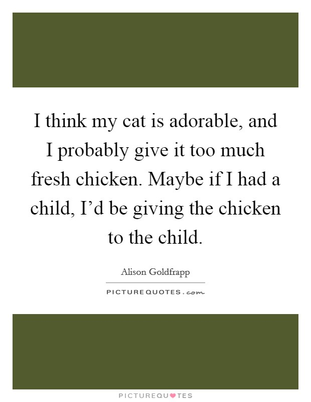 I think my cat is adorable, and I probably give it too much fresh chicken. Maybe if I had a child, I'd be giving the chicken to the child Picture Quote #1
