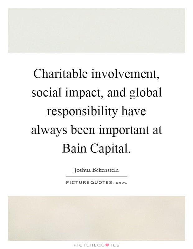 Charitable Involvement Social Impact And Global