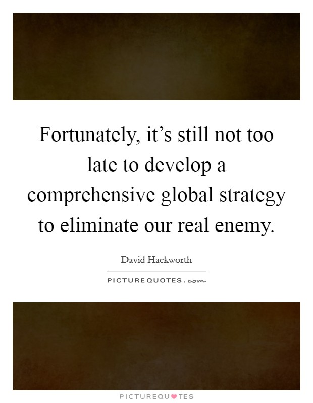 Fortunately, it's still not too late to develop a comprehensive global strategy to eliminate our real enemy. Picture Quote #1