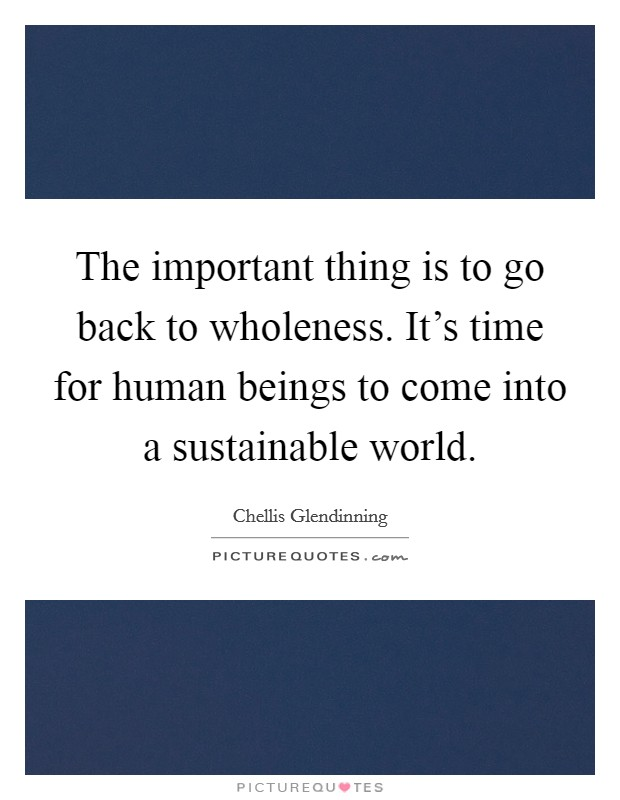 The important thing is to go back to wholeness. It's time for human beings to come into a sustainable world Picture Quote #1