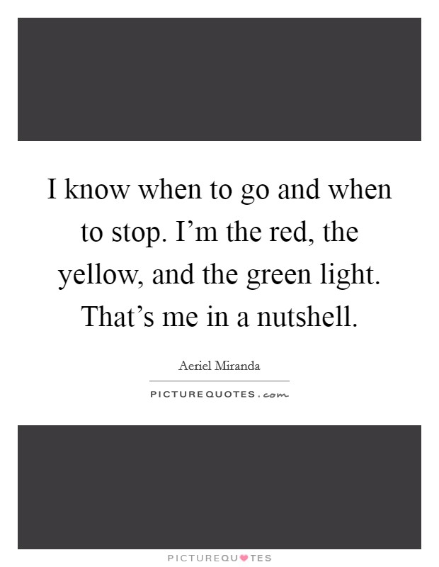 I know when to go and when to stop. I'm the red, the yellow, and the green light. That's me in a nutshell Picture Quote #1
