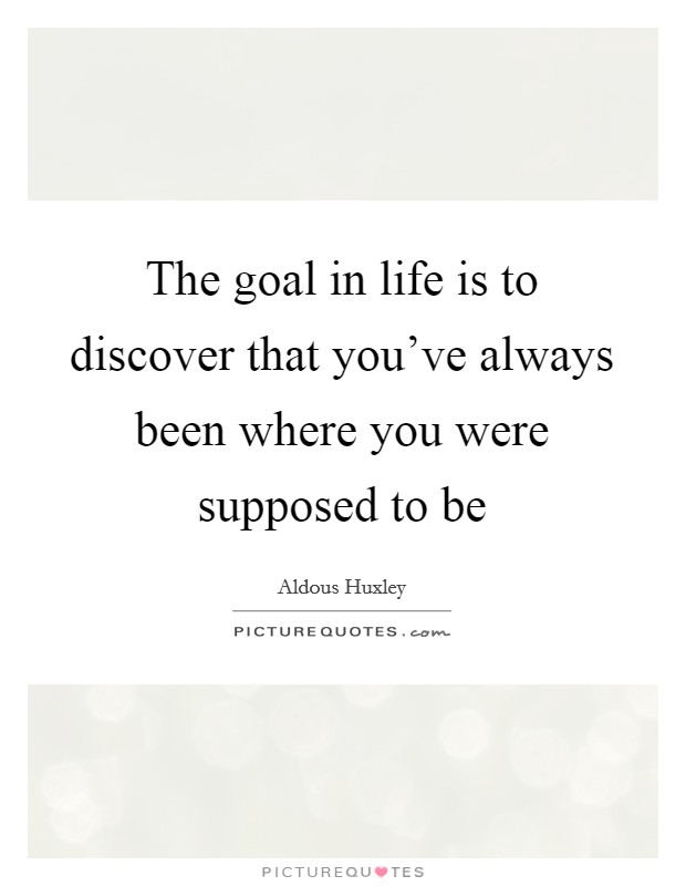 The goal in life is to discover that you've always been where you were supposed to be Picture Quote #1