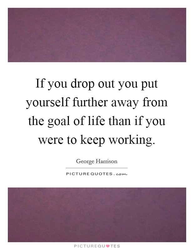 If you drop out you put yourself further away from the goal of life than if you were to keep working Picture Quote #1