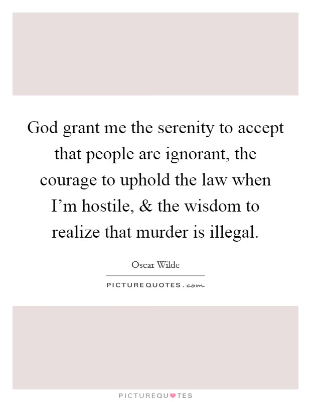God grant me the serenity to accept that people are ignorant, the courage to uphold the law when I'm hostile, and the wisdom to realize that murder is illegal Picture Quote #1