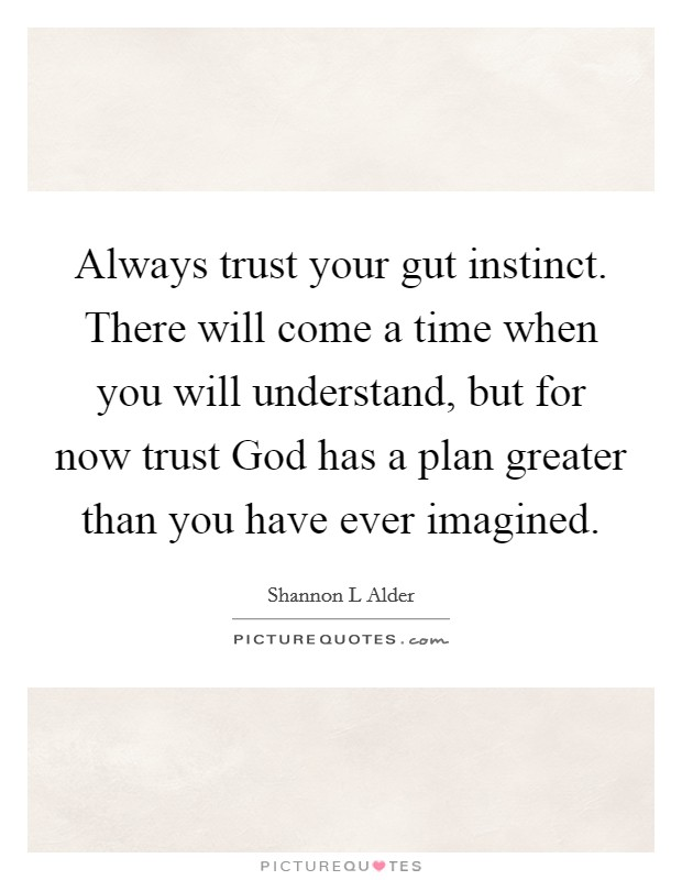 Always trust your gut instinct. There will come a time when you will understand, but for now trust God has a plan greater than you have ever imagined Picture Quote #1