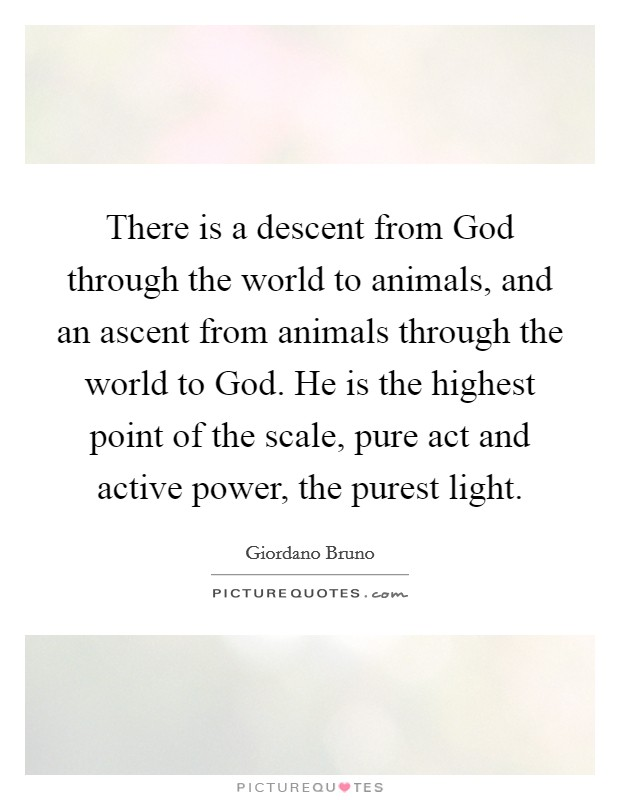 There is a descent from God through the world to animals, and an ascent from animals through the world to God. He is the highest point of the scale, pure act and active power, the purest light Picture Quote #1