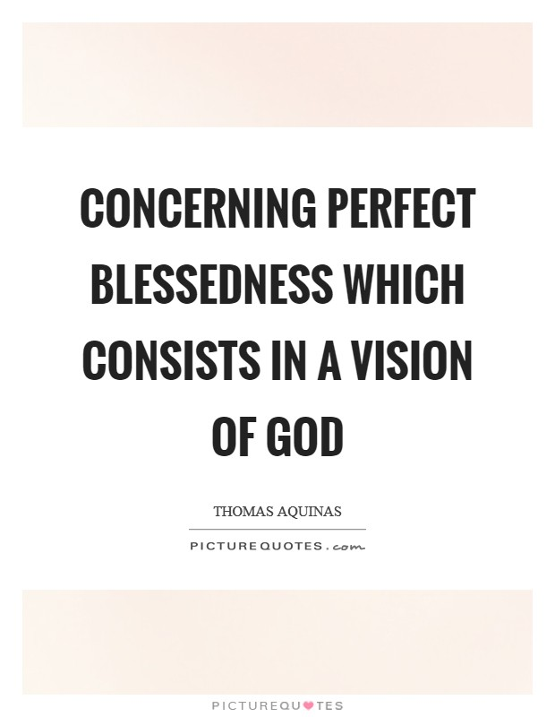 Concerning perfect blessedness which consists in a vision of God Picture Quote #1