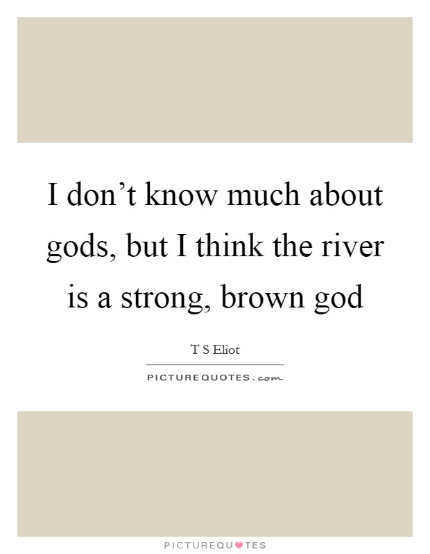 I don't know much about gods, but I think the river is a strong, brown god Picture Quote #1