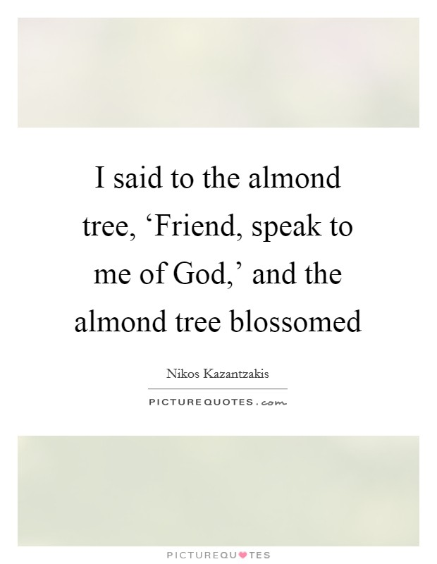 I said to the almond tree, 'Friend, speak to me of God,' and the almond tree blossomed Picture Quote #1