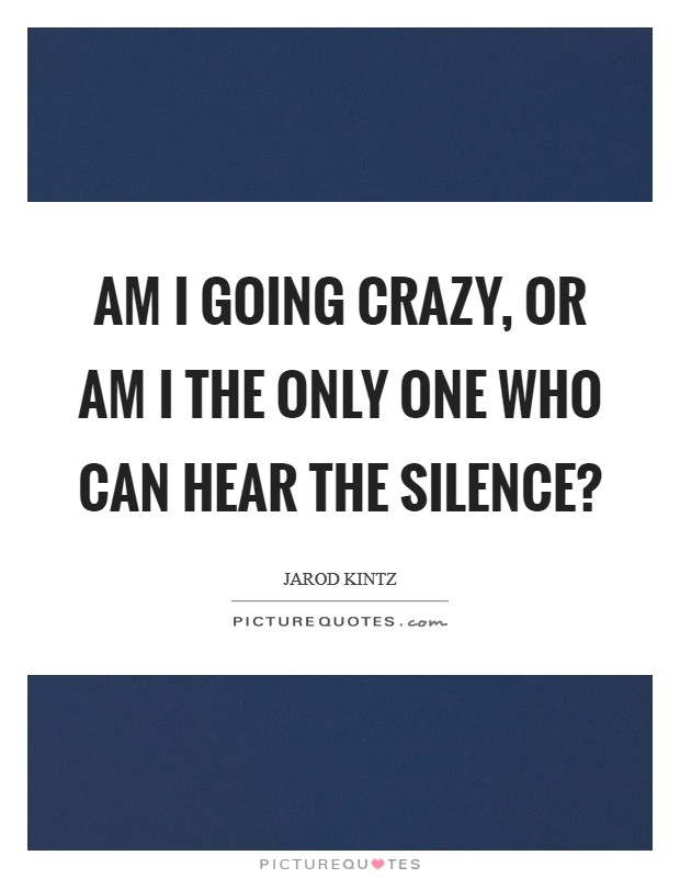 Am I going crazy, or am I the only one who can hear the silence? Picture Quote #1