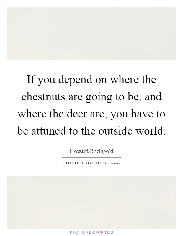 If you depend on where the chestnuts are going to be, and where the deer are, you have to be attuned to the outside world Picture Quote #1