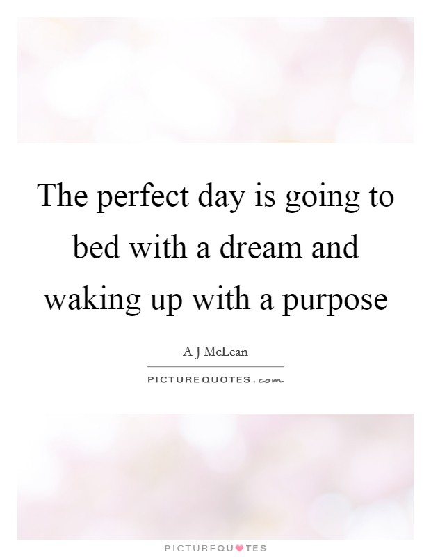 The perfect day is going to bed with a dream and waking up with a purpose Picture Quote #1
