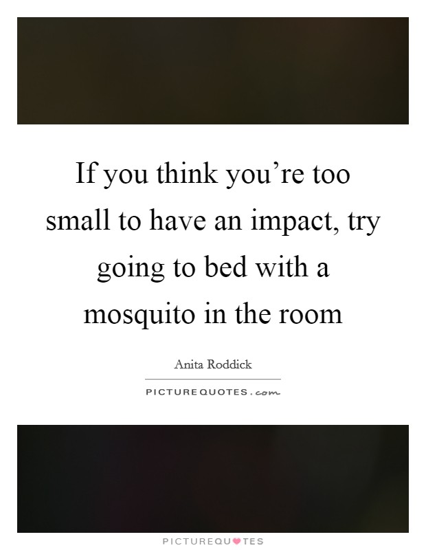 If you think you're too small to have an impact, try going to bed with a mosquito in the room Picture Quote #1