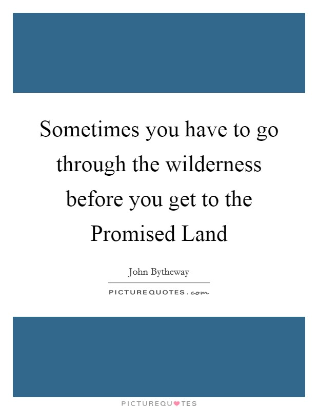 Sometimes you have to go through the wilderness before you get to the Promised Land Picture Quote #1