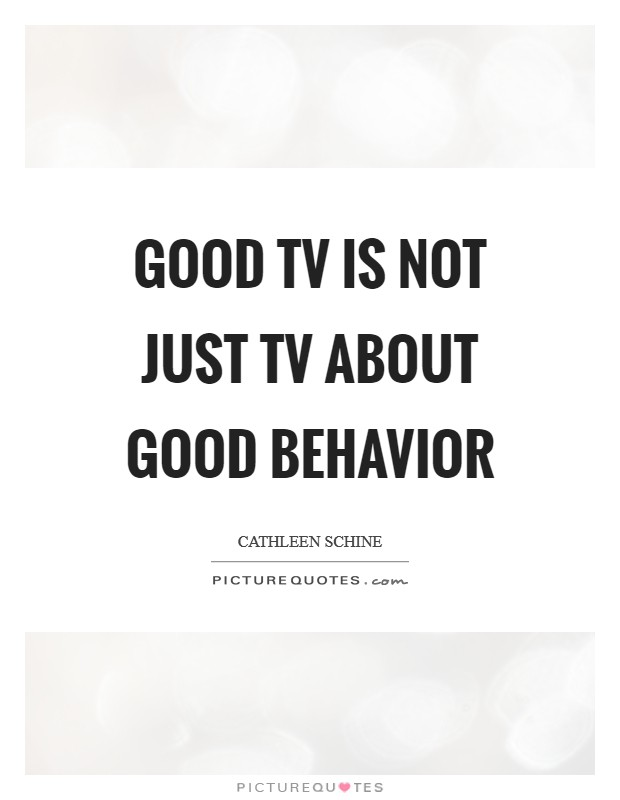 Good TV is not just TV about good behavior Picture Quote #1
