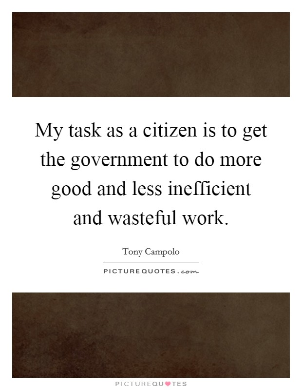 My task as a citizen is to get the government to do more good and less inefficient and wasteful work Picture Quote #1
