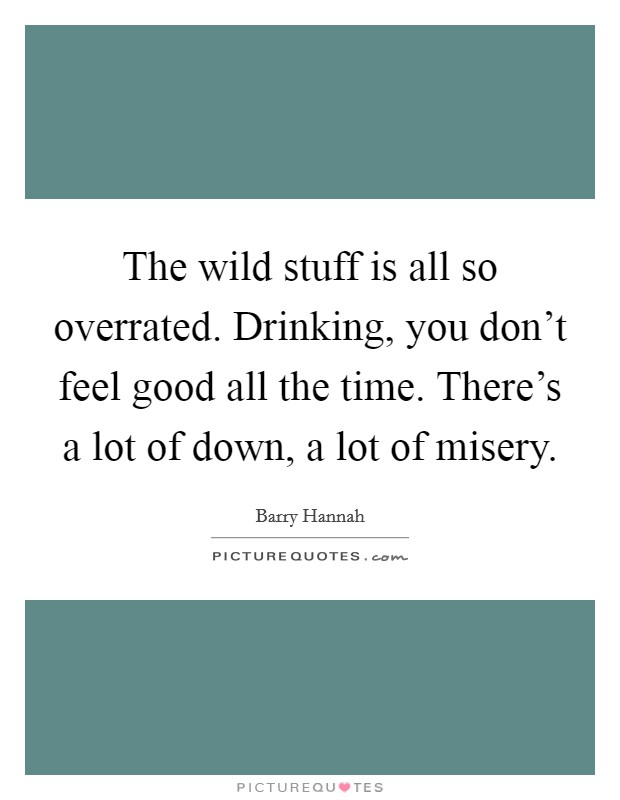 The wild stuff is all so overrated. Drinking, you don't feel good all the time. There's a lot of down, a lot of misery Picture Quote #1
