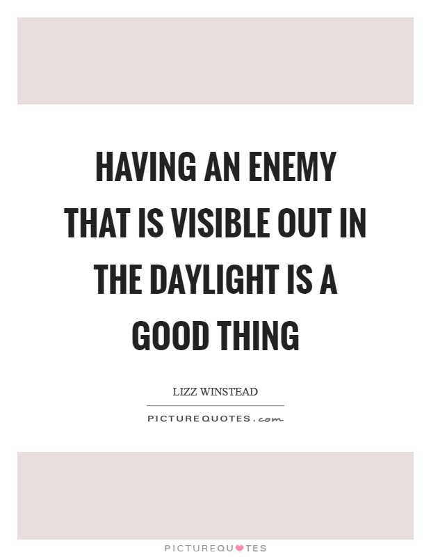 Having an enemy that is visible out in the daylight is a good thing Picture Quote #1