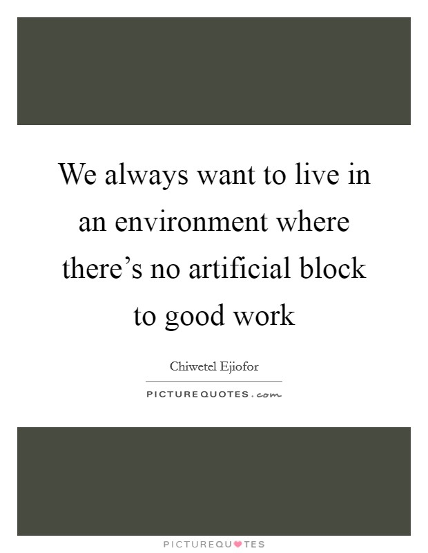 We always want to live in an environment where there's no artificial block to good work Picture Quote #1