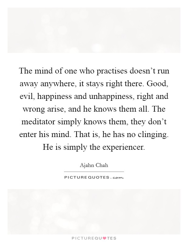 The mind of one who practises doesn't run away anywhere, it stays right there. Good, evil, happiness and unhappiness, right and wrong arise, and he knows them all. The meditator simply knows them, they don't enter his mind. That is, he has no clinging. He is simply the experiencer Picture Quote #1
