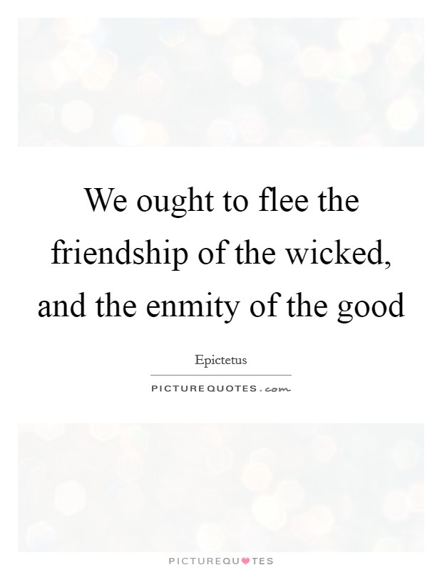 We ought to flee the friendship of the wicked, and the enmity of the good Picture Quote #1