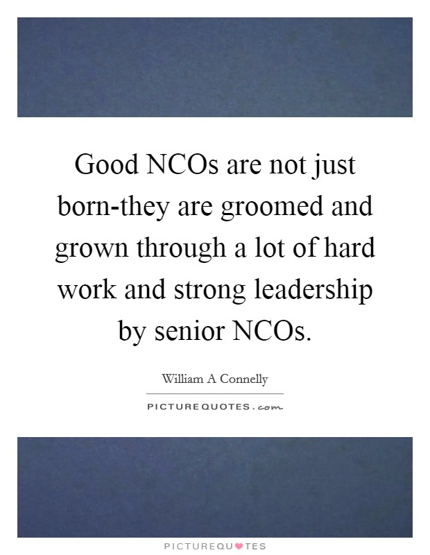 Good NCOs are not just born-they are groomed and grown through a lot of hard work and strong leadership by senior NCOs Picture Quote #1