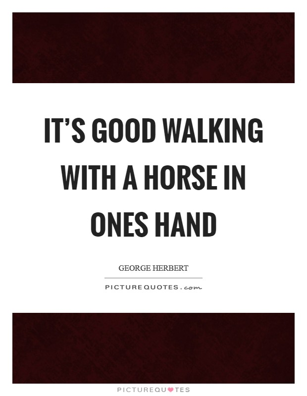 It's good walking with a horse in ones hand Picture Quote #1