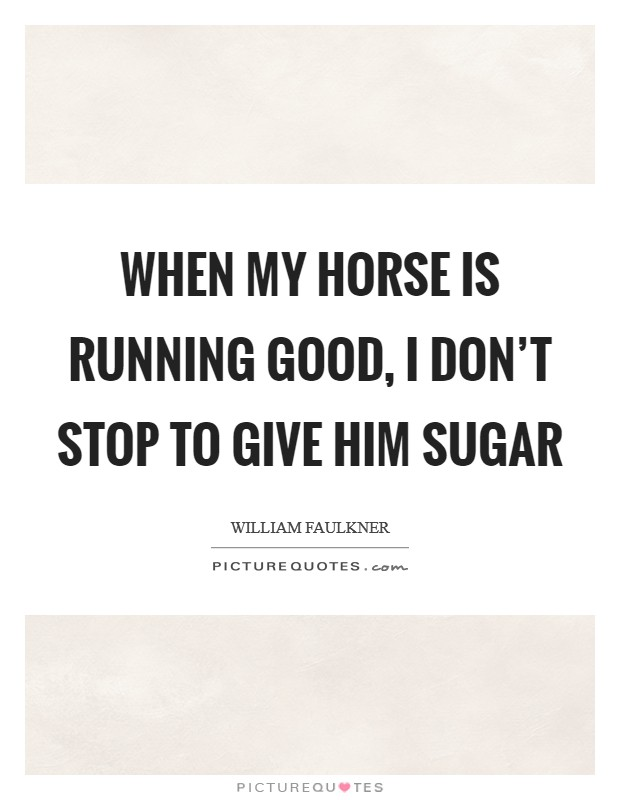 When my horse is running good, I don't stop to give him sugar Picture Quote #1