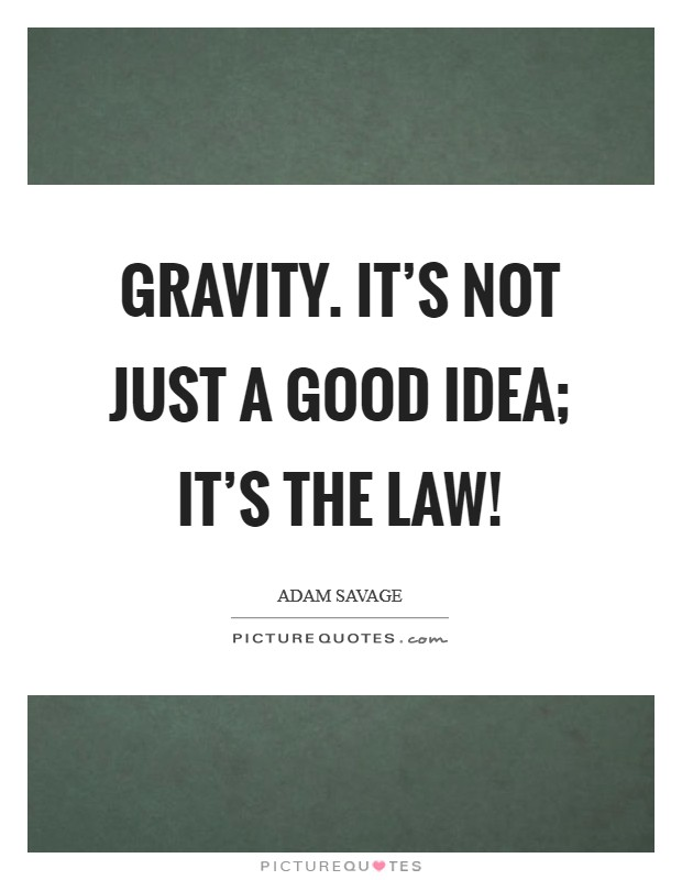 Gravity. It's not just a good idea; it's the law! Picture Quote #1
