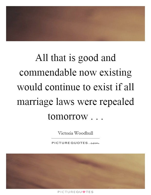 All that is good and commendable now existing would continue to exist if all marriage laws were repealed tomorrow . .  Picture Quote #1