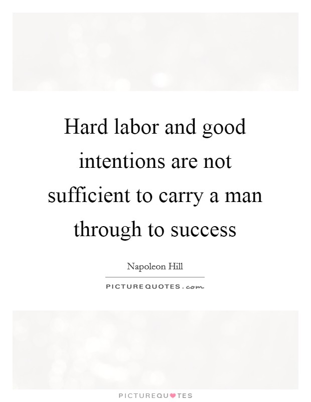 Hard labor and good intentions are not sufficient to carry a man through to success Picture Quote #1