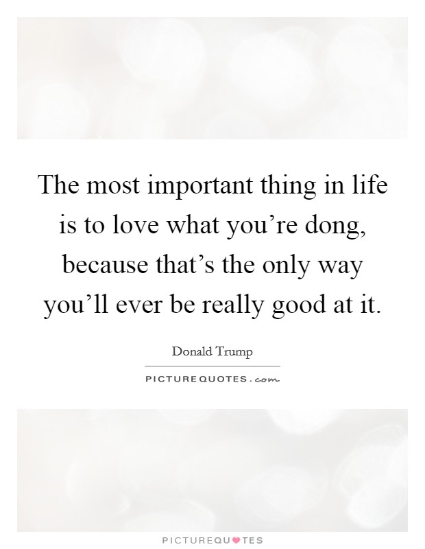 The most important thing in life is to love what you're dong, because that's the only way you'll ever be really good at it Picture Quote #1