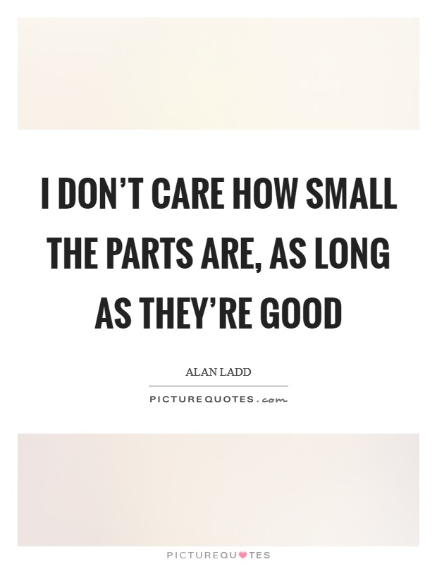 I don't care how small the parts are, as long as they're good Picture Quote #1