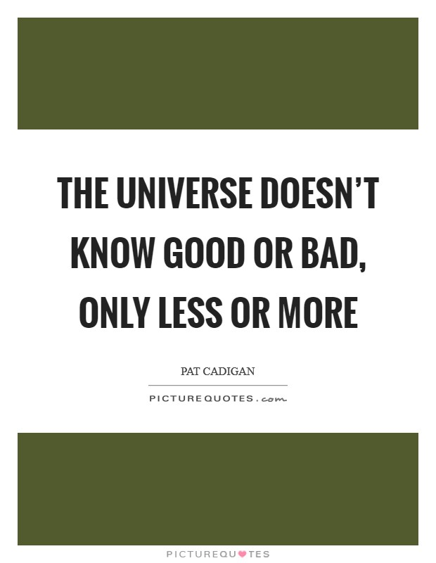 The universe doesn't know good or bad, only less or more Picture Quote #1