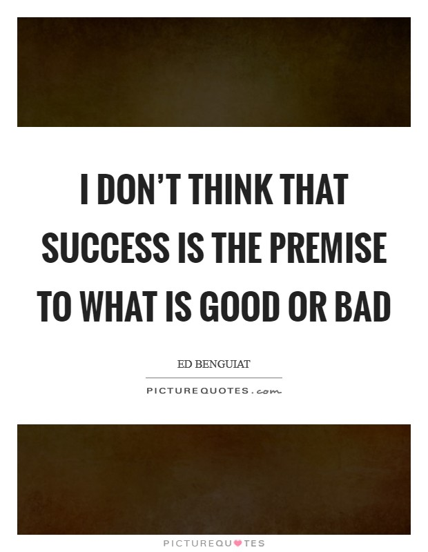 I don't think that success is the premise to what is good or bad Picture Quote #1