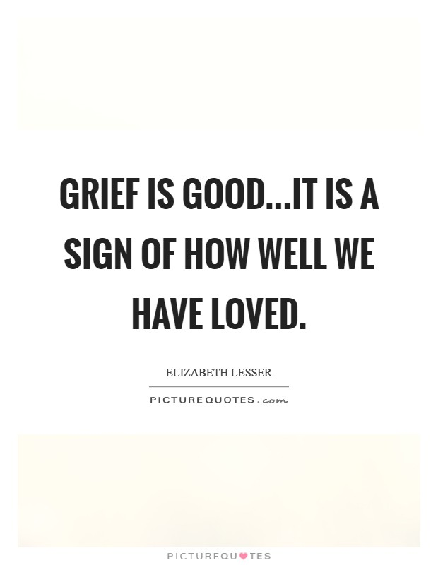 Grief is good...it is a sign of how well we have loved. Picture Quote #1