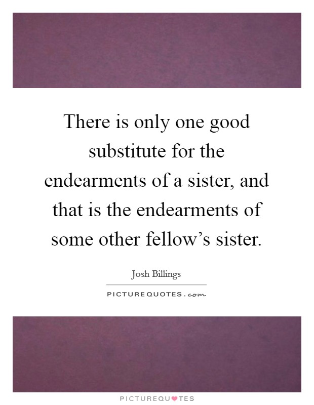 There is only one good substitute for the endearments of a sister, and that is the endearments of some other fellow's sister Picture Quote #1
