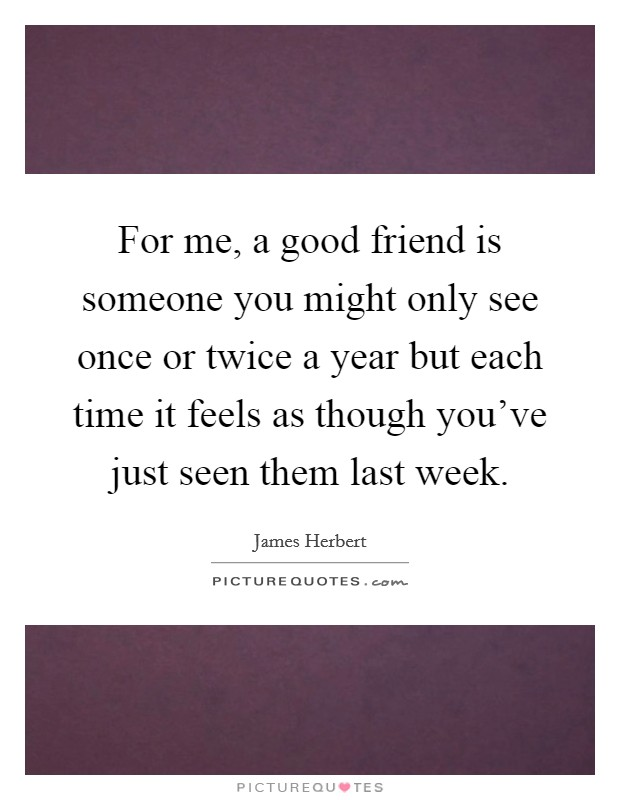 For me, a good friend is someone you might only see once or twice a year but each time it feels as though you've just seen them last week Picture Quote #1