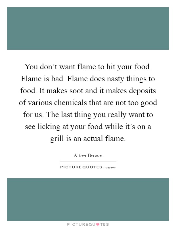 You don't want flame to hit your food. Flame is bad. Flame does nasty things to food. It makes soot and it makes deposits of various chemicals that are not too good for us. The last thing you really want to see licking at your food while it's on a grill is an actual flame Picture Quote #1